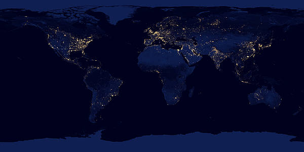 Night Lights 2012 - Flat map by NASA Earth Observatory/NOAA NGDC, public domain